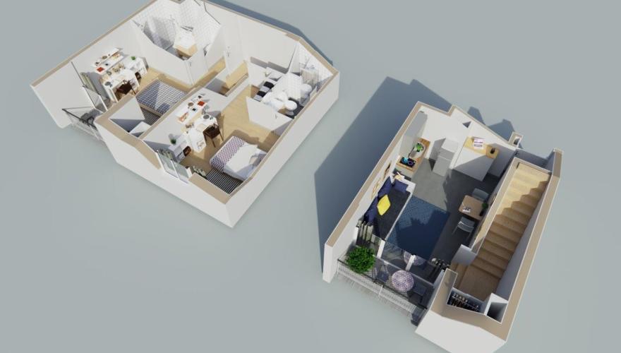 Bordeaux - Appartement T3 Duplex - Vue découpée