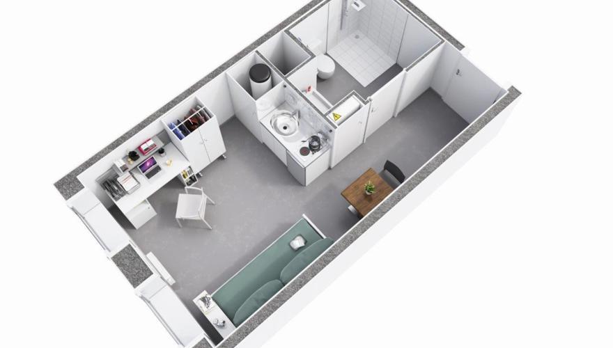 Nice - Appartement T1 - Vue découpée